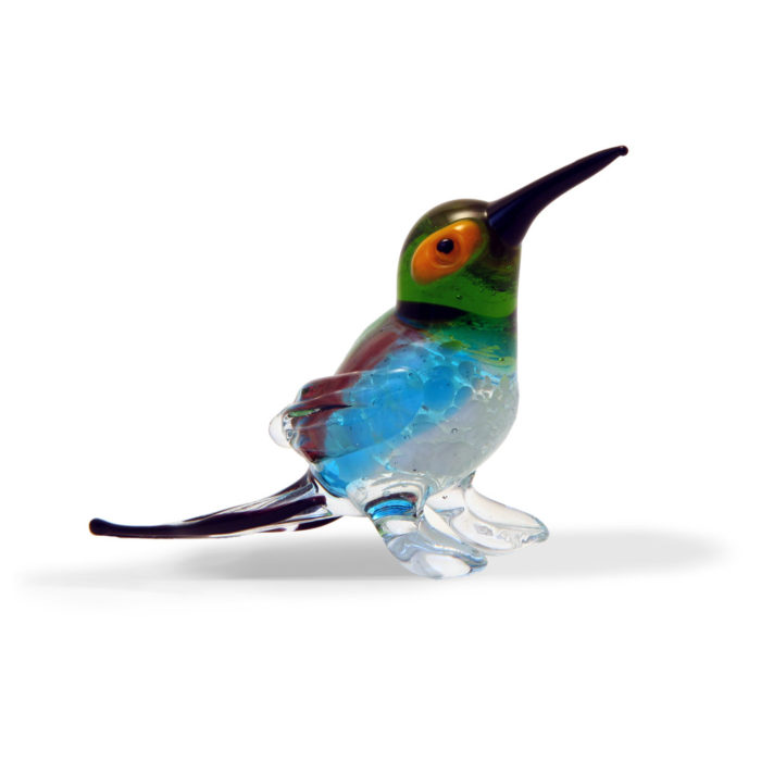 Large Glass Standing Hummingbird