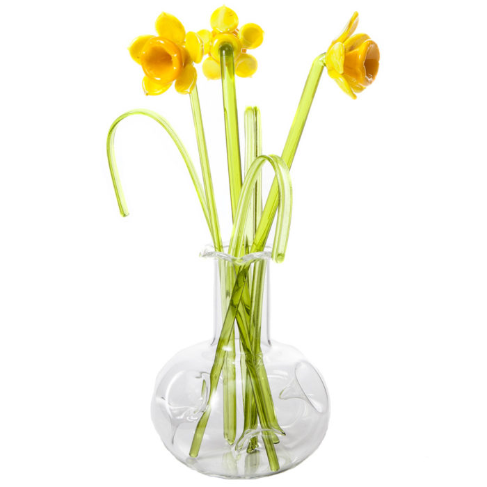 Glass Flower Daffodil in a Vase