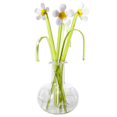 Glass Flower Daisy in a Vase