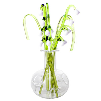 Glass Flower Lily Of The Valley in a Vase