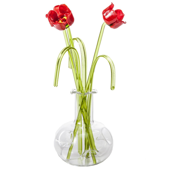 Glass Flower Rose in a Vase