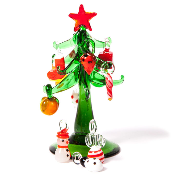 Glass Christmas Tree with Decorations