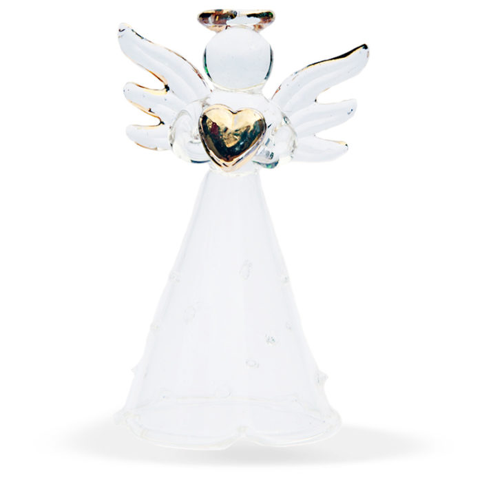 Clear Diamante Heart Angel