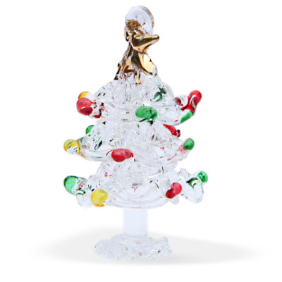 Multi Coloured Spun Glass Christmas Tree